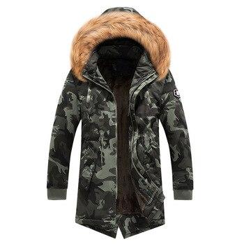 Winter Casual Jacket Men Hooded Fleece Warm Military Camo Coats Parkas Male Thick Medium-Long Men's Army Tactical Jackets XXXL