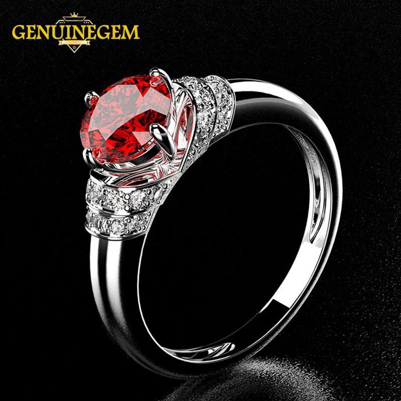 Jewepisode  Charms 8MM Round Ruby Sapphire 925 Sterling Silver Finger Ring For Woman Wedding Party Female Ring Gift Wholesale