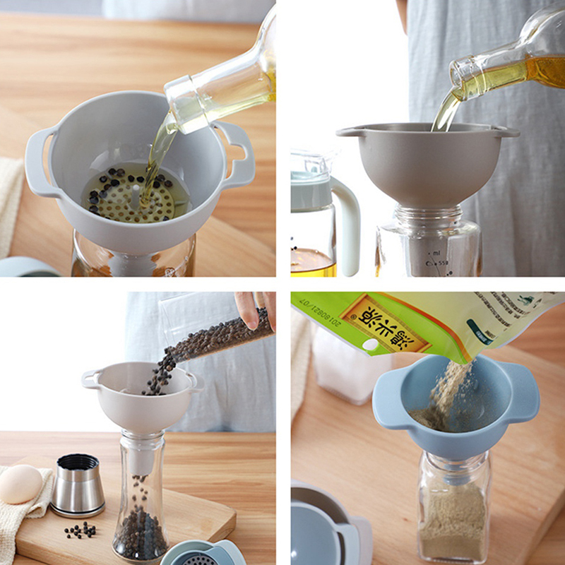4 IN 1 Multi-function Funnel Set Filter Oil Can Household Oil Hopper Sub-packaging Plastic Funnel Kitchen Tools