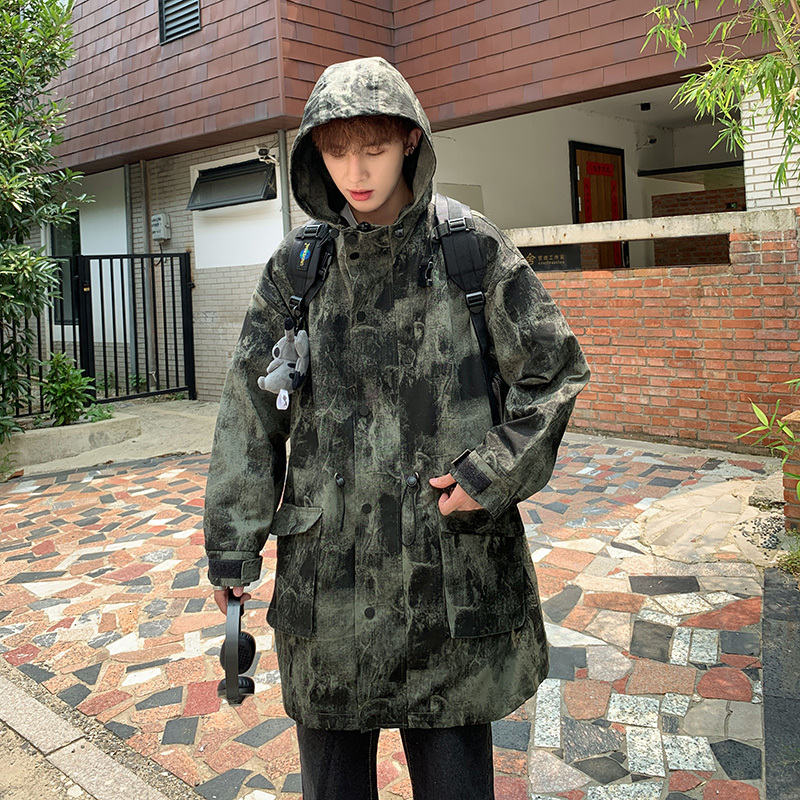 Autumn New Camo Windbreaker Mens Fashion Military Wind Hooded Jacket Man Streetwear Wild Loose Long Coat M-5XL