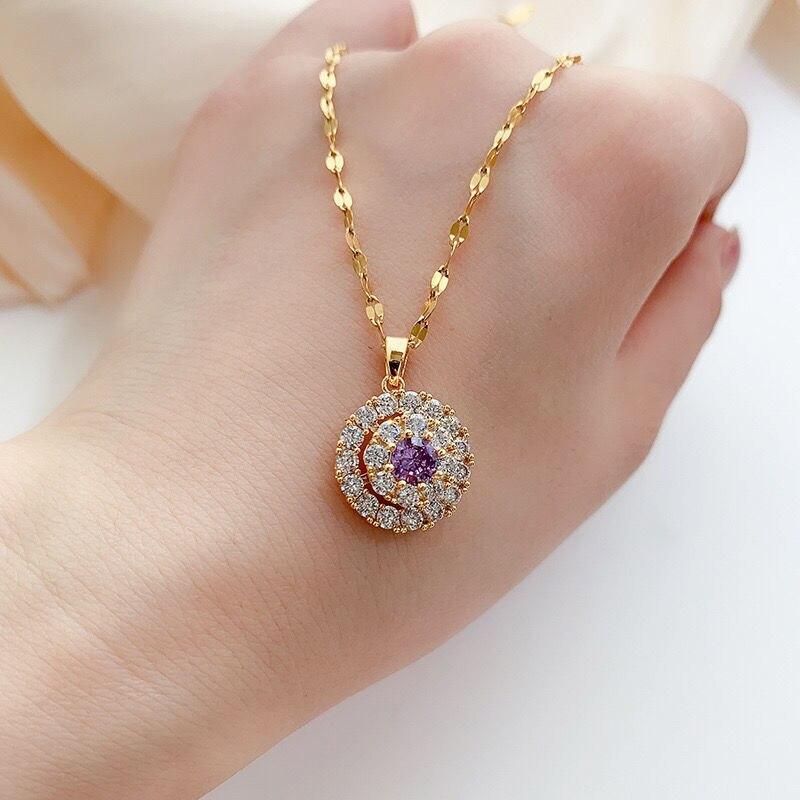 18K Gold Halskette Weiß Diamant Anhänger für Frauen Bijoux Femme Collares Joyas Natürliche Pierscionki Bizuteria Edelstein Anhänger