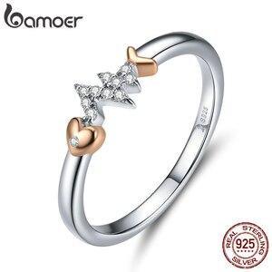 Image 2 - Bamoer אמיתי 925 סטרלינג כסף דגי עצם עם פעימות לב רוז זהב צבע שרשרת טבעת ועגילים לנשים ZHS185