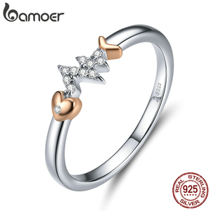 Image 2 - bamoer Real 925 Sterling Silver Fish Bone with Heartbeat Rose Gold Color Necklace Ring and Stud Earrings for Women ZHS185