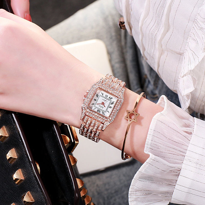 2020 new square wristwatch water diamond women's watch fashion student watch high grade alloy quatz watch 5