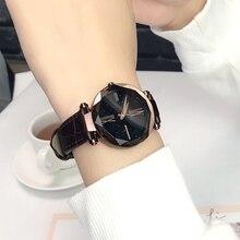 лучшая цена Top Vintage Luxury Shining Stars Ladies Watch Rose Gold Quartz Watch Geometric Surface Leather Strap Casual Quartz Women's Watch