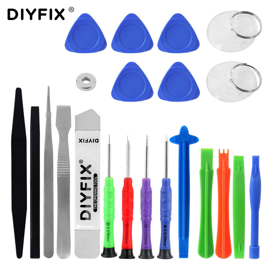 DIYFIX Mobile Phone Repair Tools Kit Spud Pry Screwdriver Set for iPhone iPad Samsung Cell Phone Hand Tools Set