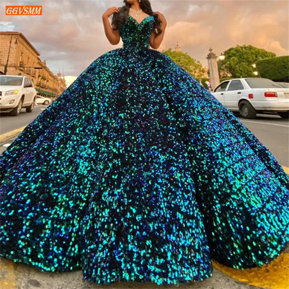 Sequined Prom Dress Real Photos Lace Up Ball Gown Fluffy Party Women Dress Long Vestidos De Fiesta Largos Elegantes De Gala 2020