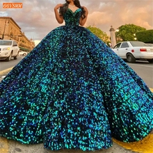Sequined Prom Dress Real Photos Lace Up Ball Gown Fluffy Par