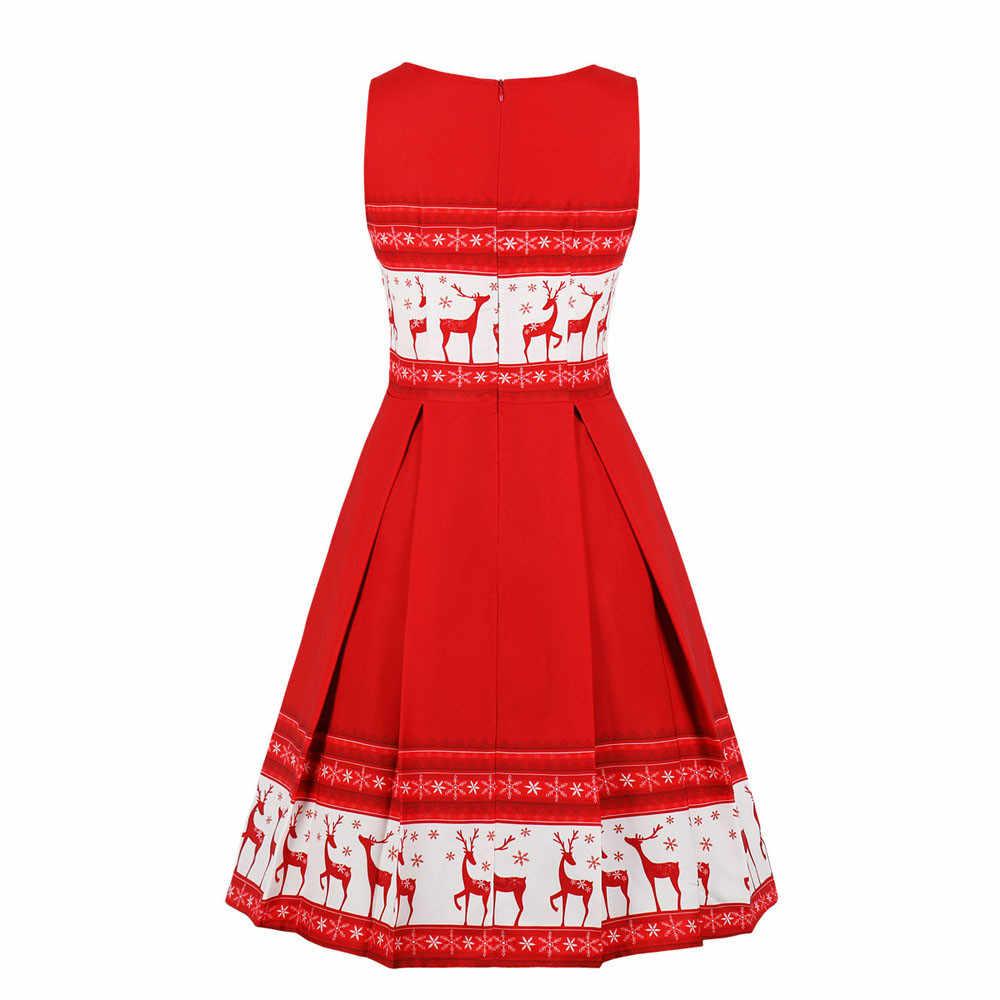 Musim Gugur Wanita Musim Dingin Vestidos Jubah Femme Wanita Tanpa Lengan Rusa Natal Vintage Xmas Pesta Midi Ayun 50