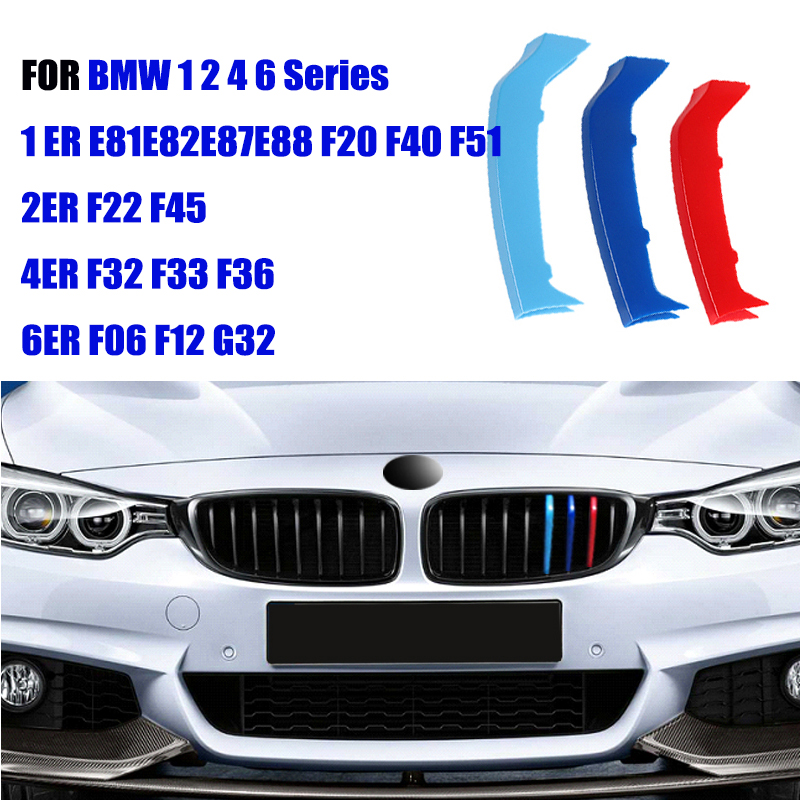 3pcs ABS Clip For BMW 1 2 4 6 Series  F06 F12 F20 F40 F52 F22 F45 F32 F33 F36 E81 E82 E87 G32 M Performance Car Racing Grille