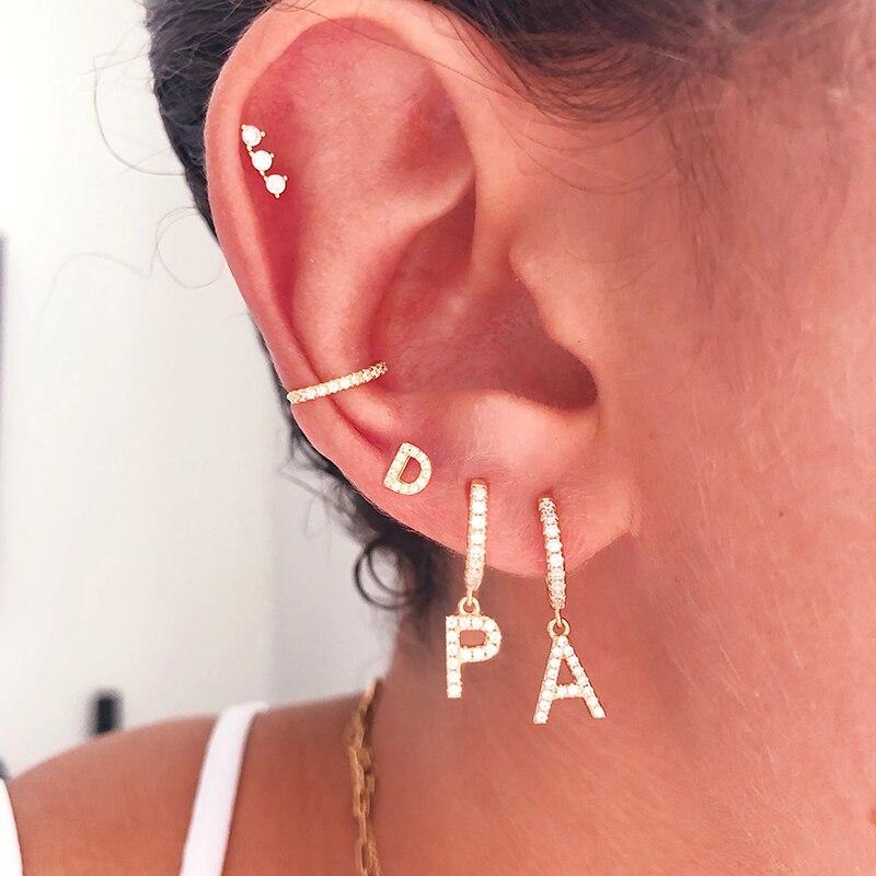 1 pcs 925 sterling silver Cz 26 Letters Earring Zircon Cartilage Earrings Puncture Helix Piercing Jewelry A30