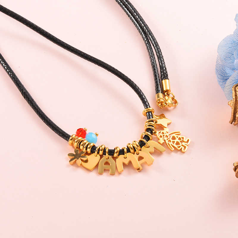 Clearnance-sale Baoyan Fashion Necklaces 2019 bead Rope Chain Letter Necklace Women Stainless Steel Gold Heart Clown Pendant