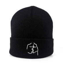 Fashion Women Knitted Hat Autumn Winter Letters Embroidered Cap Headgear Hip Hop Beanies for Men