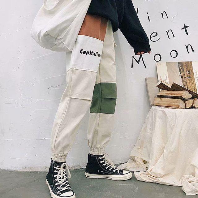 Cargo Pants Men Hip Hop Patchwork Joggers Harem Pants Ankle Length Trousers Techwear 2