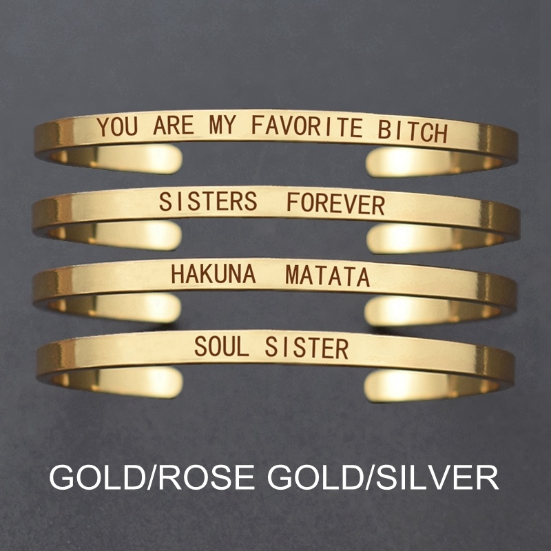 Engraved-Bangle Charm Bridesmaid-Bracelet Letters Soul Sister Best-Friends Personalized title=
