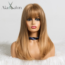 ALAN EATON Synthetic Medium Straight Natural Hair Wigs with Bangs for Black Women African American Brown Blonde Cosplay Bob Wigs
