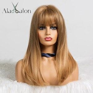 Image 1 - ALAN EATON Synthetic MediumตรงผมWigsกับBangsสำหรับผู้หญิงสีดำแอฟริกันอเมริกันสีน้ำตาลสีบลอนด์คอสเพลย์Bob Wigs