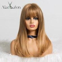 ALAN EATON синтетические средние натуральные прямые волосы парики с челкой для черных женщин афро Американский коричневый блонд косплей боб парики