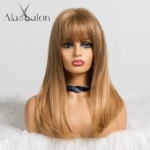 EATON perruques naturelles mi lisses avec frange ALAN, perruques de Cosplay Bob pour femmes noires, afro américaines et blondes