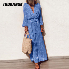 IUURANUS 5XL Women Casual V-neck Floral Print Dress Summer Autumn Long Sleeve Maxi Boho Fashion Sashes Party Vestido