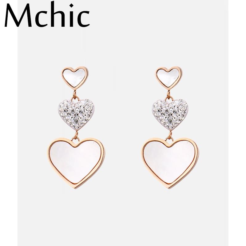 Mchic Elegant Trendy Natural Shell Geometric Heart Dangle Earrings Luxury Rhinestone Earrings for Female Charm Jewelry Party New in Drop Earrings from Jewelry Accessories