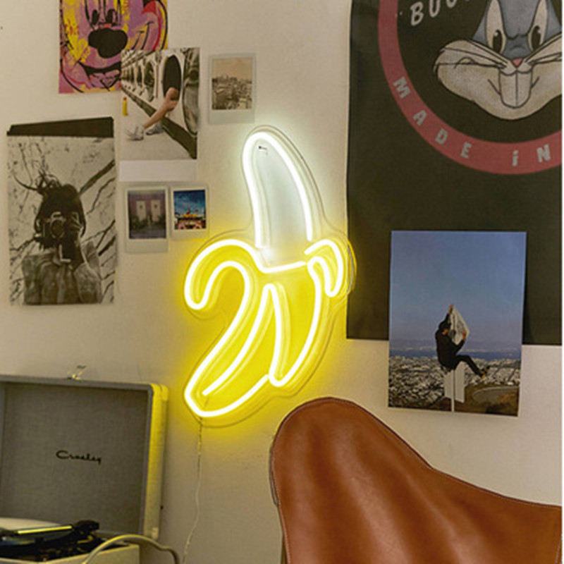 Luz de néon sinal painel luz da noite usb powered ins forma romântico festa de casamento feriado decoração fada lâmpada asa banana