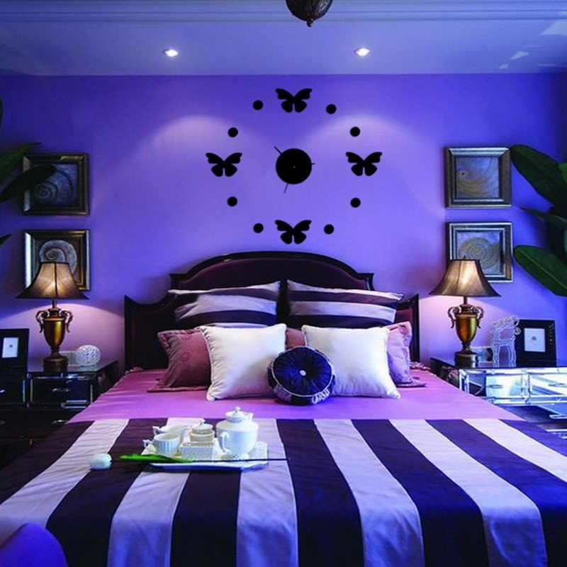 Butterfly Children Room Cartoon Mute Wall Clock DIY Decorative Wall Clock Bedroom Office Home Decoration 669