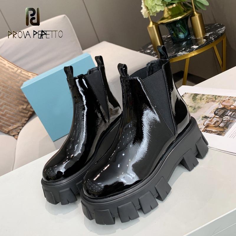2020 outono inverno plataforma de couro patente botas de tornozelo feminino dedo do pé redondo salto quadrado sólido deslizamento-on ridingequestrian bonito botas