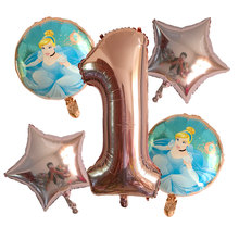 5Pcs Princess Girl Birthday Balloons Snow White Aurora Ariel Belle party decorations baby shower helium balloon Kids toy Globos(China)