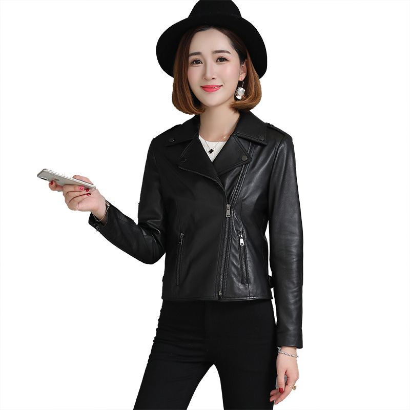 Short Black Slim Women Sheepskin Genuine Leather Coat Classic High Quality Lapel Oblique Zipper Motorcycle Streetwear Jacket