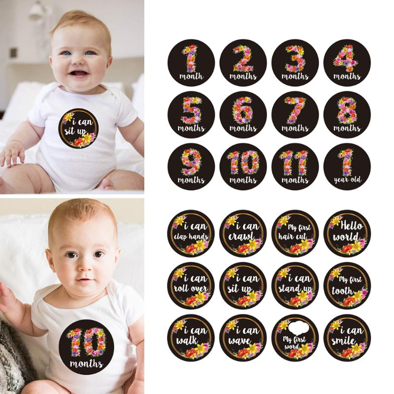 12PCS/Set Baby Month Sticker Newborn Photo Prop Stickers 1-12 Months Photo Stickers Birthday Party Decorations For Kids