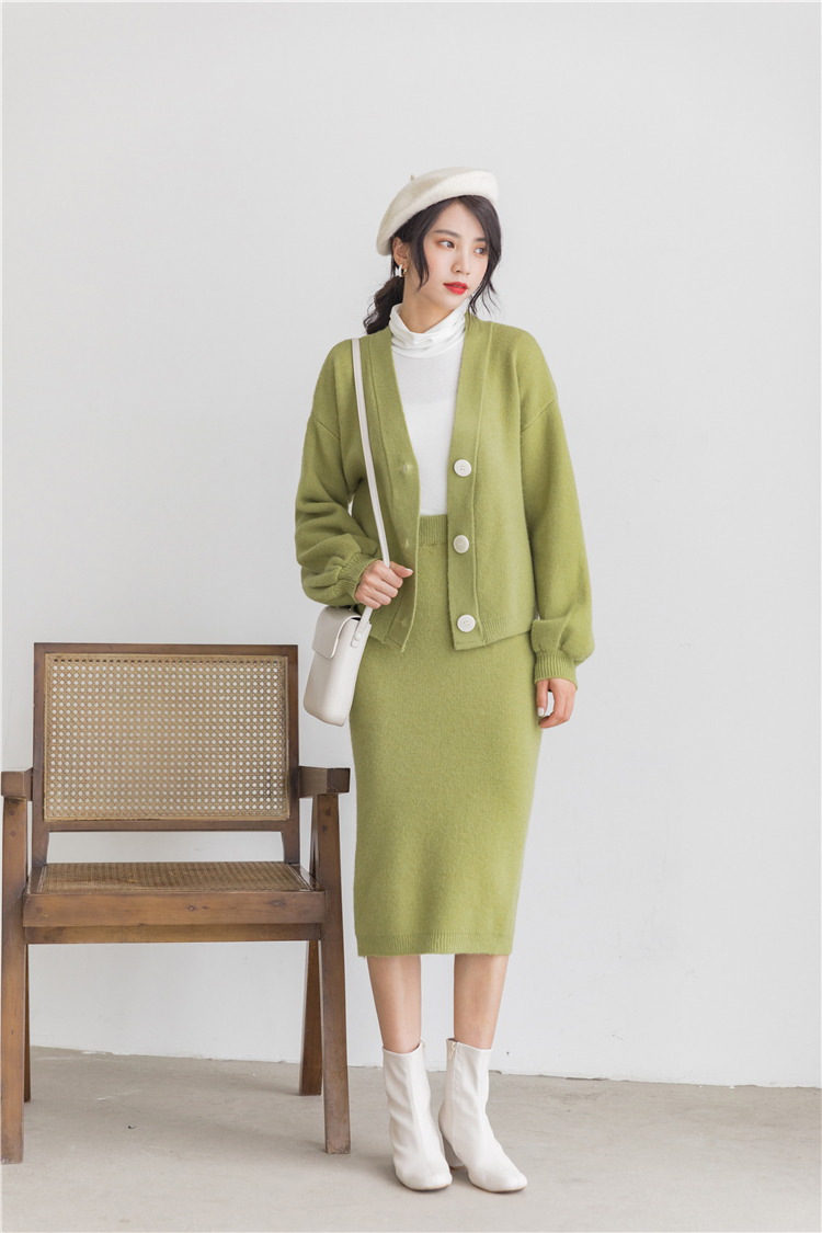 Hb76a7a5fa48f4c218514668d2dc71efdE - Autumn / Winter V-Neck Cardigan and Solid Midi Pencil Skirt