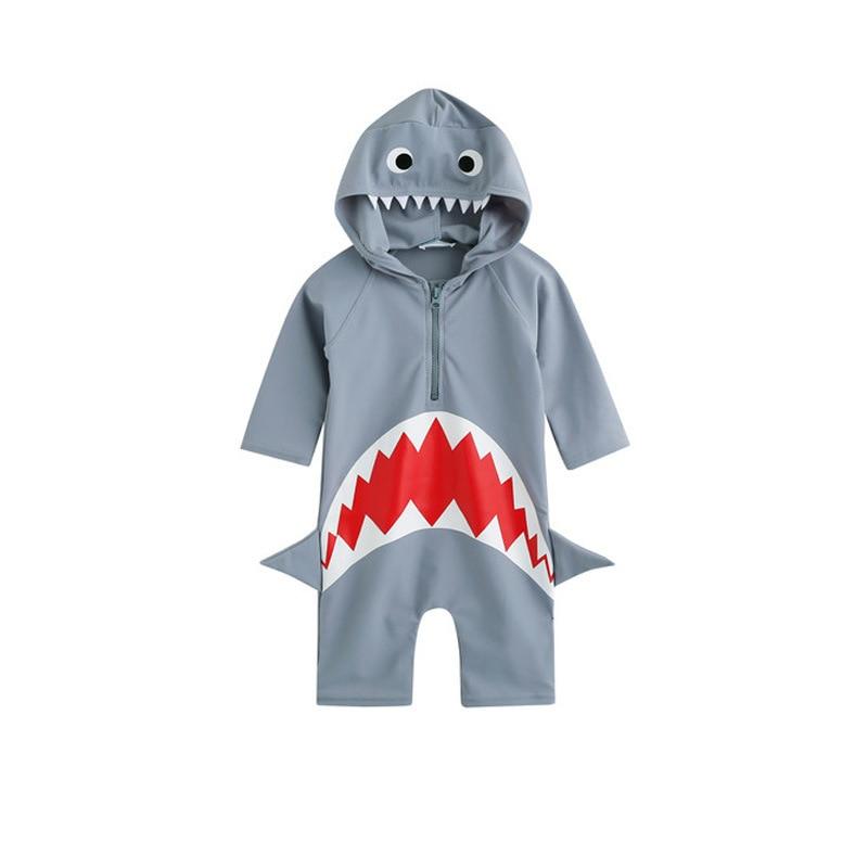 Cartoon Children Swimming Suit Men And Women Children Cute Shark Siamese Swimsuit Baby Model Clothing Sun-resistant Bathing Suit