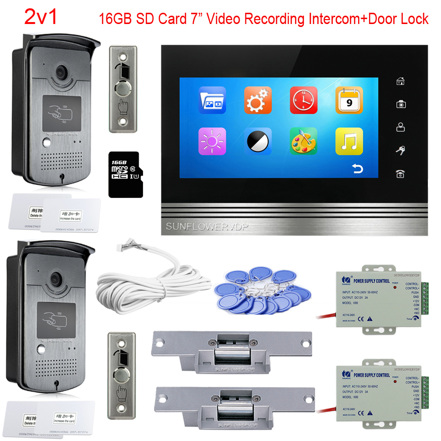 For 2 Doors Video Doorbell Rfid 16GB SD Card Video Recording 7