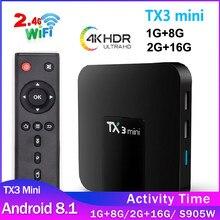 Tx3 mini android 8.1 caixa de tv smart tv amlogic s905w 1g/2g 8g/16g tanix tx3 caixa 1g8g tvbox h.265 4k conjunto topo caixa rápida frete grátis