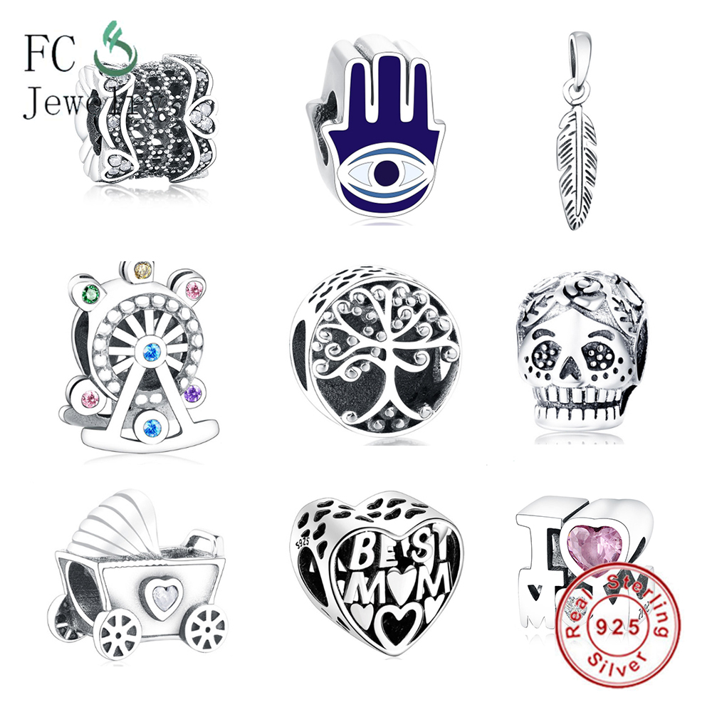925 Sterling Silver Charms Fit Original Pandora Charms Bracelets Silver 925 Hand Feather MOM Heart Women Charm Jewelry Berloque