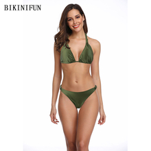 цена на New Sexy Solid Army Green Bikini Women Swimsuit Low Waist Bathing Suit S-L Girl Backless Halter Swimwear Padded Micro Bikini Set