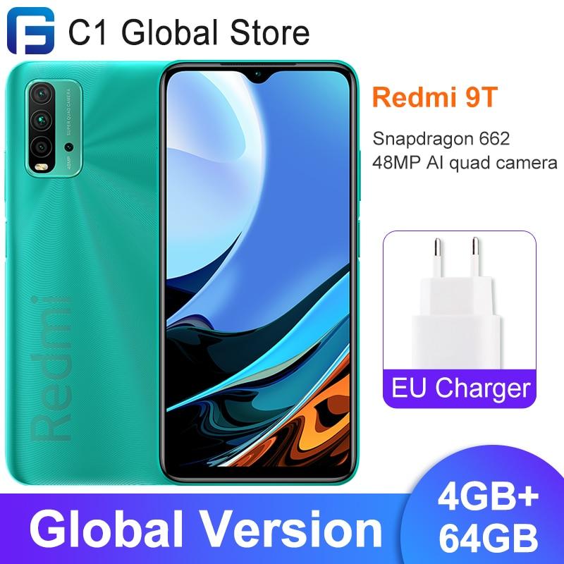 Глобальная версия Xiaomi Redmi-9T, мобильный телефон, 4 Гб RAM, 64 ГБ/4 ГБ 128 ГБ ROM, львиный зев 662 Bluetooth 5,0 6000 мА/ч, 48MP Автомобильная камера заднего вида