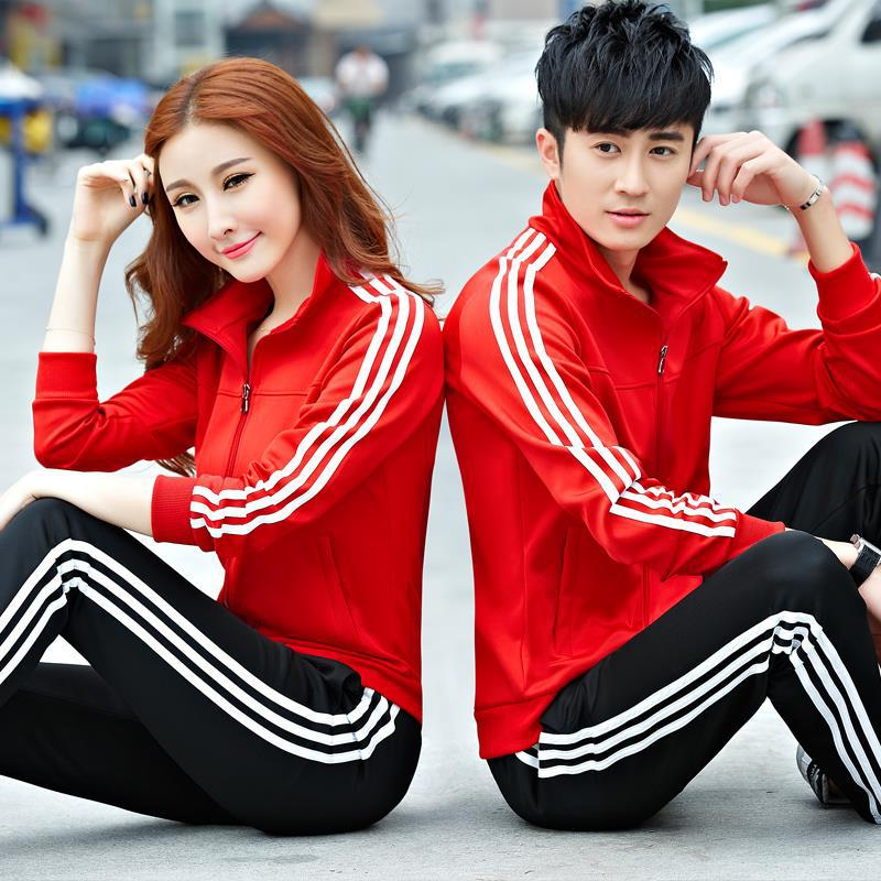 2019 New Style Spring And Autumn COUPLE'S Sports Set Long Sleeve Casual Wear Group Clothes Business Attire Customizable