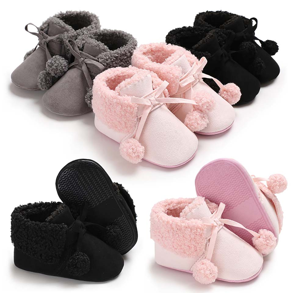 Winter Sweet Newborn Baby Girls Shoes Princess Warm Winter Boots Snow First Walkers Soft Soled Infant Toddler Kids Boys Footwear