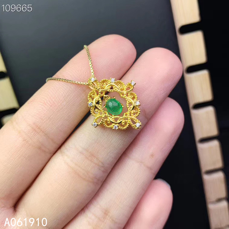 KJJEAXCMY fine jewelry 925 sterling silver inlaid Natural emerald pendant Female necklace fashion supports detection popular
