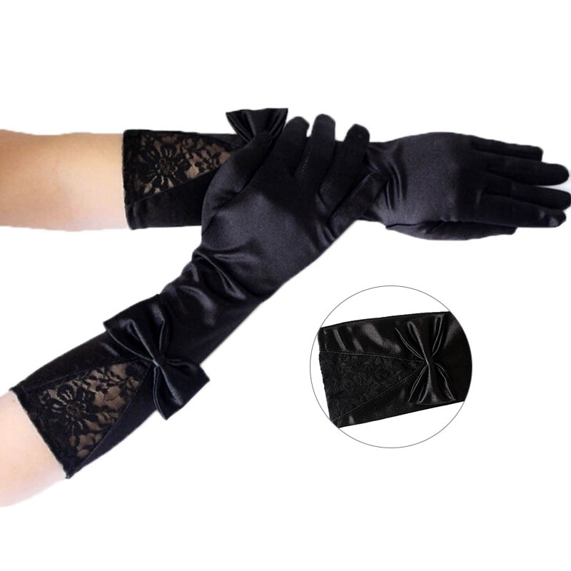 1 Pair  Women Black Lace Patchwork Satin Gloves With Bowknot Sexy Clubwear Party Dance Performance Gloves Accessories