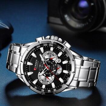 Sports Watches Men's Luxury Brand CURREN Stainless Steel Quartz Watch Chronograph Date Wristwatch Fashion Business Male Clock 6