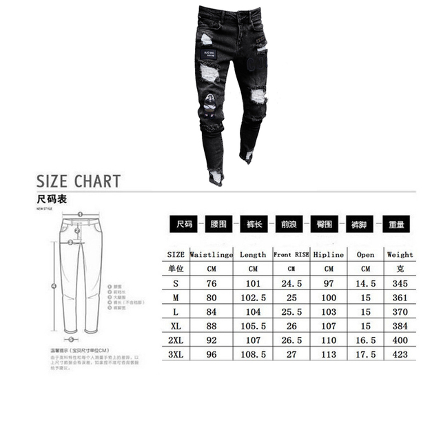 3 Styles Men Stretchy Ripped Skinny Biker Embroidery Print Jeans Destroyed Hole Taped Slim Fit Denim Scratched High Quality Jean 5