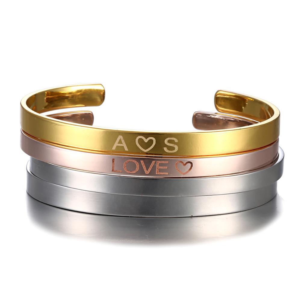 Personalisierte Edelstahl Benutzerdefinierte Armband & Bangle Kostenloser Gravieren Mode Gold Silber Farbe Manschette Armband für Frauen Liebhaber Geschenk