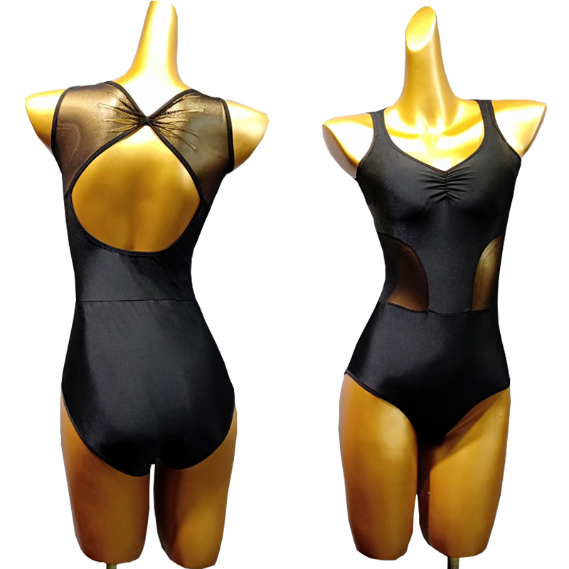 Black Leotard For Dance Top Dance Lingerie Pole Dance Clothing Female Jumpsuit Dance Backless Velcro Suits Latin Top V-neck