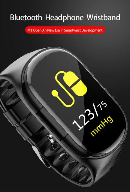 M1 أحدث 2 في 1 AI ساعة ذكية مع بلوتوث سماعة مراقب معدل ضربات القلب الذكية معصمه وقت طويل الاستعداد الرياضة ساعة الرجال 5