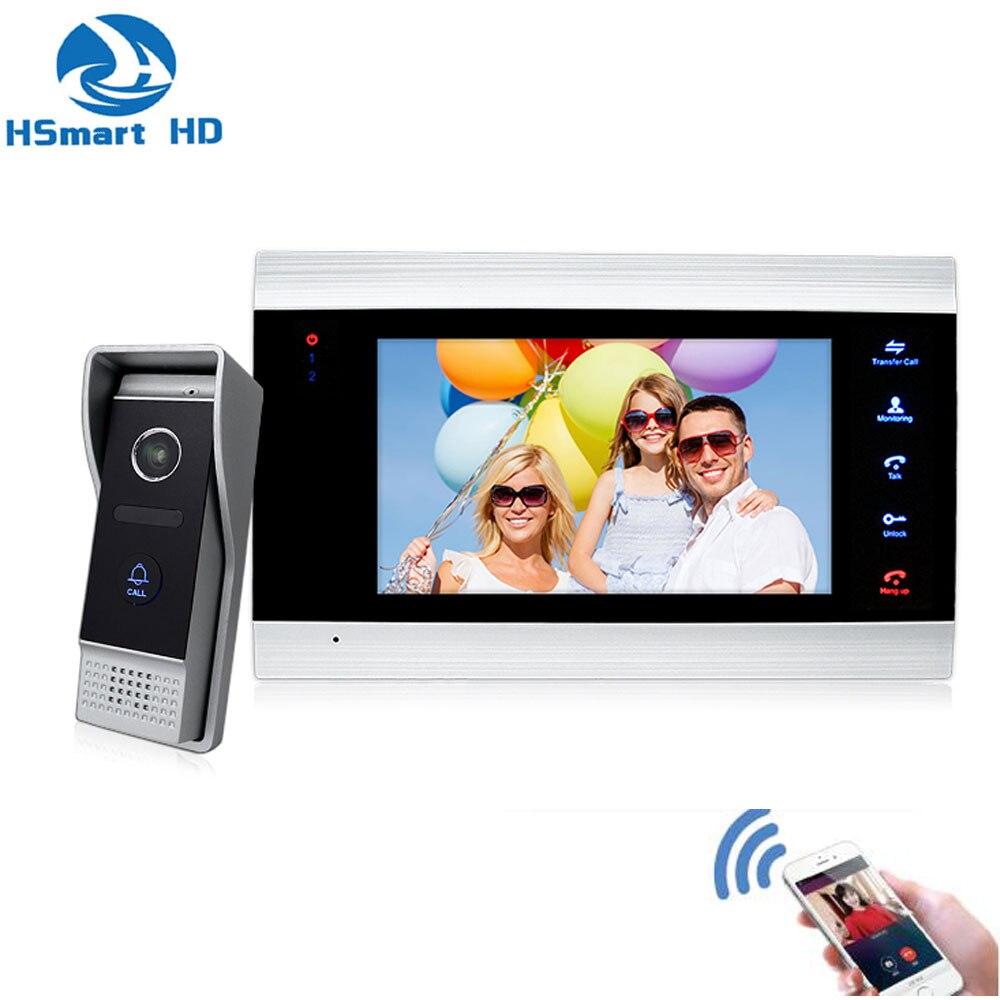 7 дюймов беспроводной WiFi смарт IP видео домофон система с HD проводной дверной звонок камера, поддержка TF карта приложение удаленный разблоки