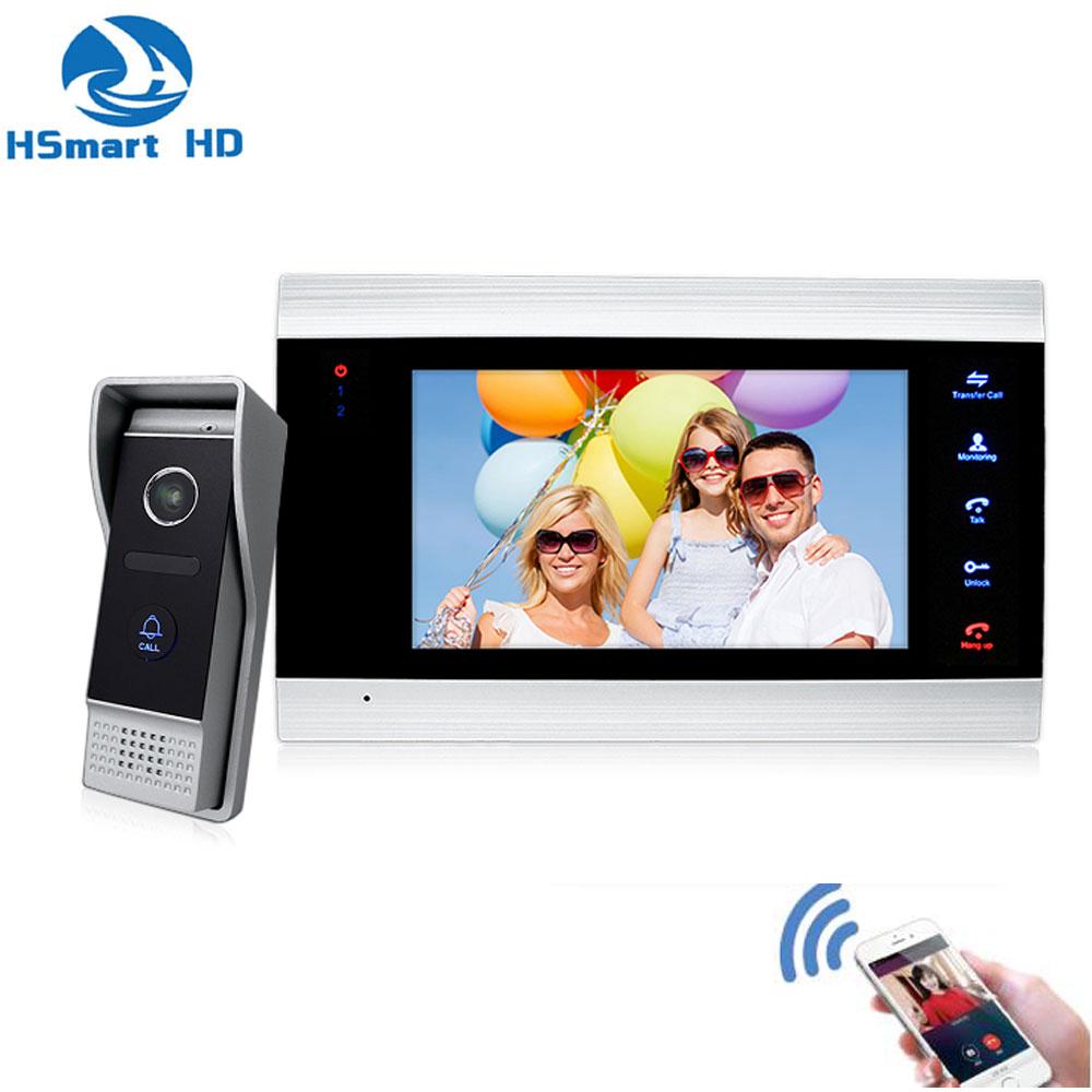 7 Inch Wireless WiFi Smart IP Video Door Phone Intercom System With HD Wired Doorbell Camera,Support TF Card App Remote Unlock