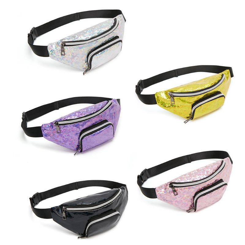 THINKTHENDO Fashion Women Holographic PVC Waist Fanny Pack Belt Bag Phone Pouch Travel Hip Bum Shoulder Bags Purse